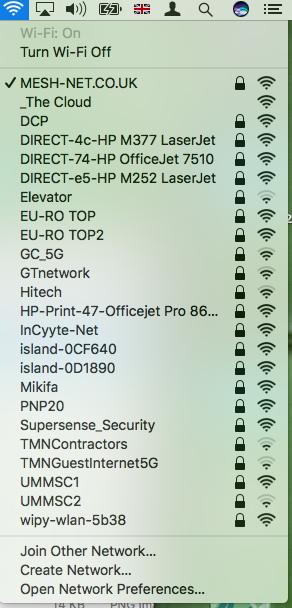 Wifi settings list